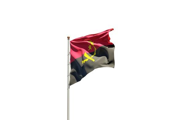Beau drapeau national de l'angola sur blanc