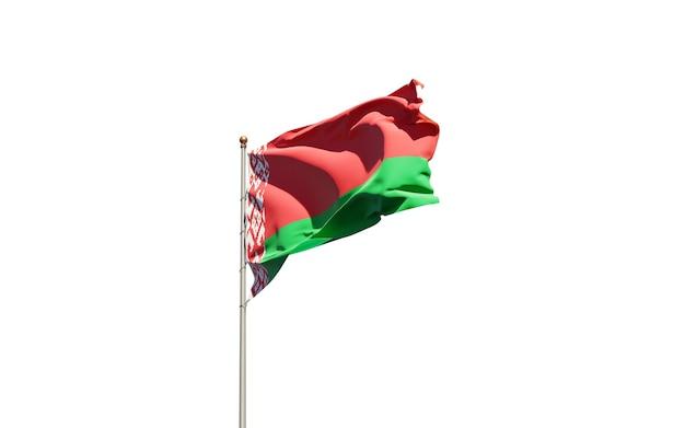 Beau drapeau national du bélarus sur blanc