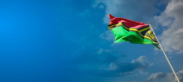 Beau drapeau national du vanuatu sur ciel bleu