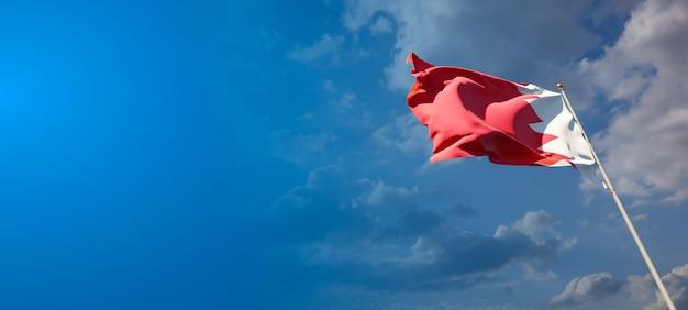 Beau drapeau national de l'état de bahreïn avec un espace vide. drapeau de bahreïn avec place pour les illustrations de texte 3d.