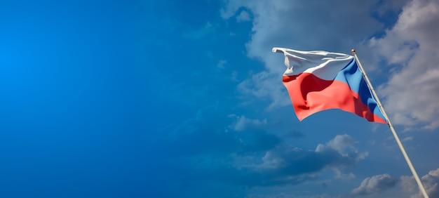 Beau drapeau national de l'état tchèque sur ciel bleu