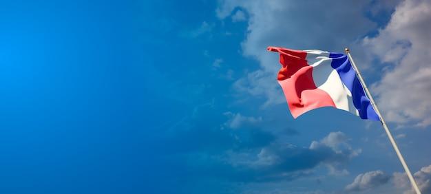 Beau drapeau national de la france avec un espace vide sur fond large