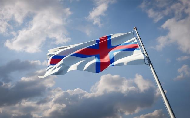 Beau drapeau national des îles féroé flottant