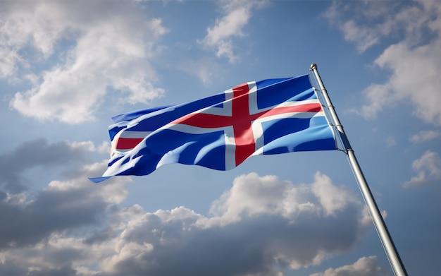 Beau drapeau national de l'islande flottant