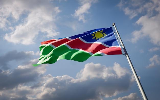 Beau drapeau national de la namibie flottant