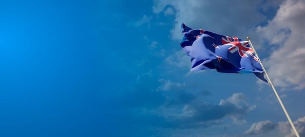 Beau drapeau national de la nouvelle-zélande sur ciel bleu