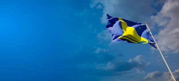 Beau drapeau national de tokelau sur ciel bleu