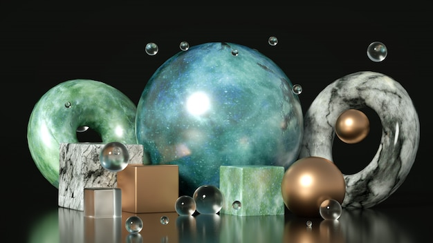 Beau, élégant, abstrait avec du métal et la texture de la pierre, du marbre et du granit. illustration 3d, rendu 3d.
