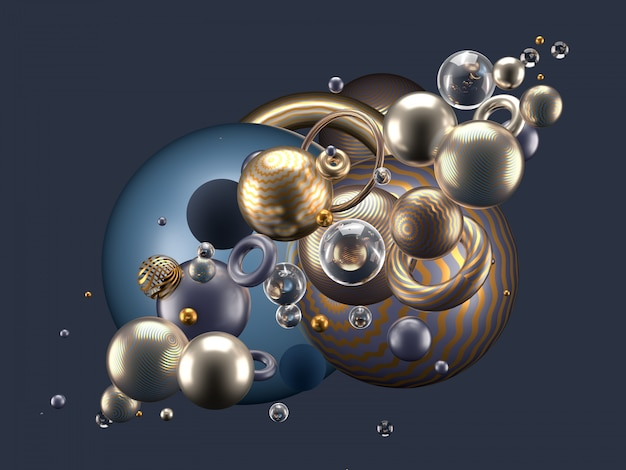 Beau fond abstrait avec des éléments de volume, boules, texture, lignes. illustration 3d, rendu 3d.