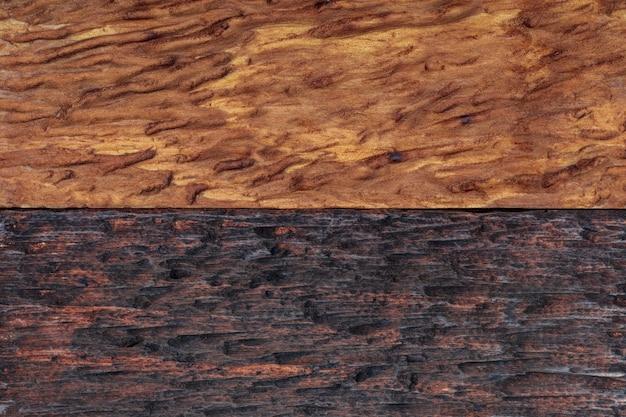 Beau fond de bois combiné dans des tons clairs et foncés (ocre, marron, beige, doré et noir). avec une apparence rustique, les veines et les nœuds peuvent être vus.