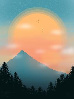 Beau fond d'écran illustration de paysage de coucher de soleil