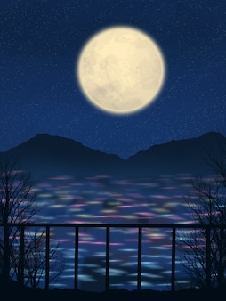 Beau fond d'écran illustration de paysage de ville de nuit