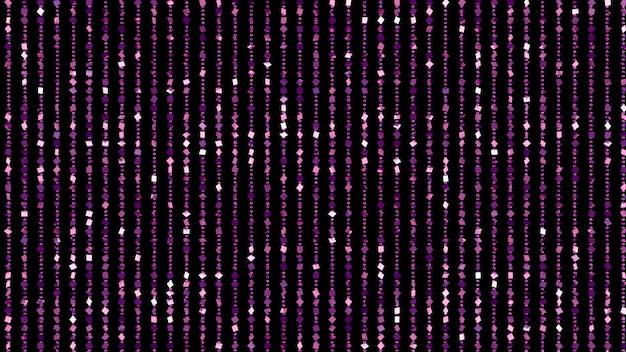 Beau fond noir avec des paillettes violettes. illustration 3d