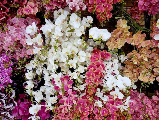 Beau fond d'orchidée artificielle multicolore