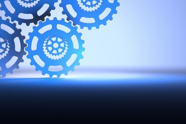Beau fond technologique avec engrenages en bleu clair et bleu foncé