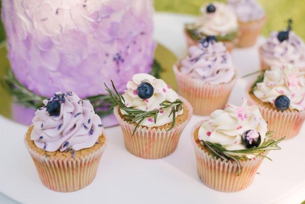 Beau gâteau de mariage délicieux élégant avec des baies et des cupcakes sur tableau blanc et fond de nature, mise au point sélective