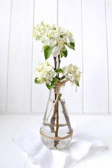 Beau jardin de pommiers de fleurs blanches