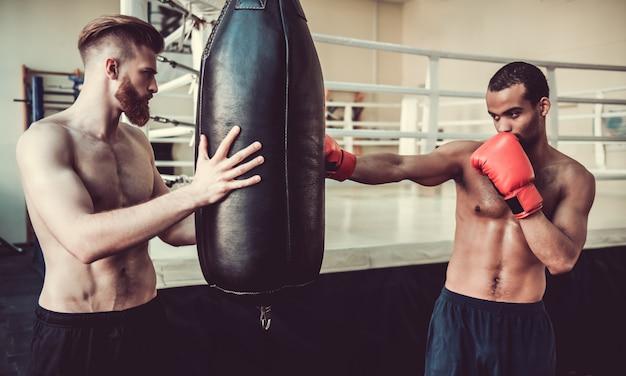 Beau jeunes boxeurs pratiquent avec un sac de boxe.