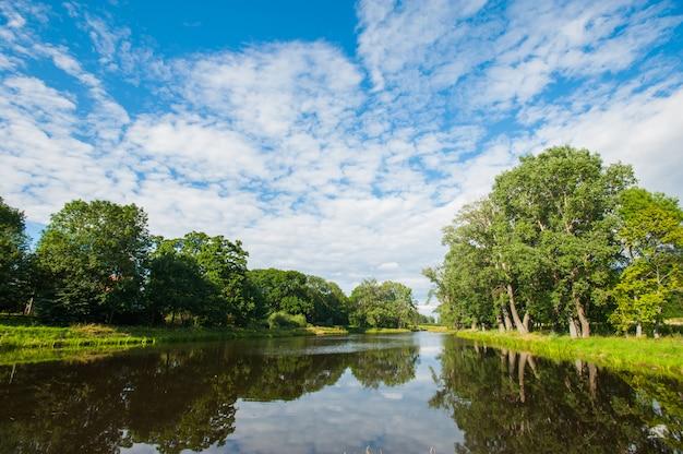 Beau lac encore avec des arbres à l'horizon et des nuages gonflés blancs dans le ciel. journée d'été paisible au chalet. grands arbres verts sur un lac