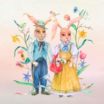 Beau lapin de pâques dans l'ensemble d'éléments de conception de jardin
