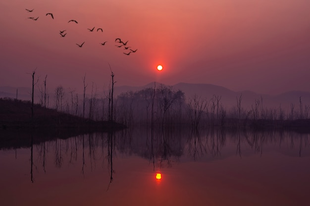 Beau lever de soleil avec ciel rouge et reflet dans le lac.