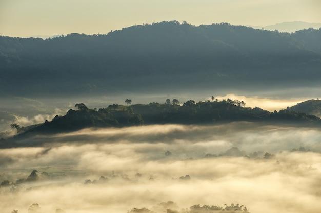 Beau lever de soleil de la place de voyage avec la brume matinale