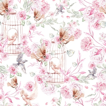 Beau modèle d'aquarelle avec des oiseaux et des fleurs et une cage à oiseaux