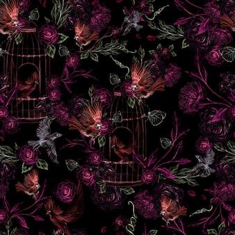 Beau modèle d'aquarelle avec des oiseaux et des fleurs et illustration de cage d'oiseau
