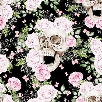Beau modèle sans couture d'aquarelle avec le crâne et les fleurs de pivoine et de roses. illustration