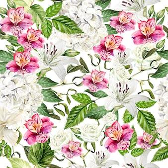 Beau modèle sans couture d'aquarelle avec des fleurs d'alstroemeria, d'hudrangea, de lis et de rose. illustration
