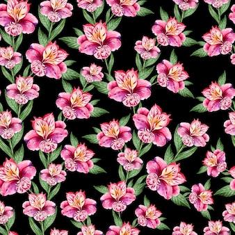 Beau modèle sans couture aquarelle avec des fleurs d'alstroemeria. illustration