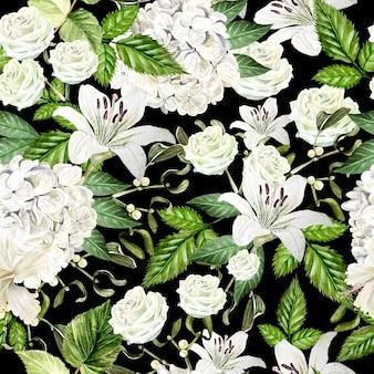Beau modèle sans couture d'aquarelle avec des fleurs d'hudrangea, de lis et de rose. illustration