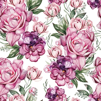 Beau modèle sans couture d'aquarelle avec des fleurs de pivoine et de spirée de printemps. illustration