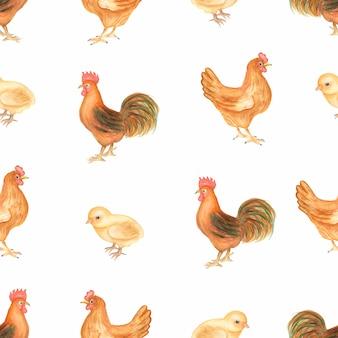 Beau modèle sans couture vintage aquarelle avec des animaux de la ferme. poulet, poule et coq oiseaux de la ferme. dessiné à la main.