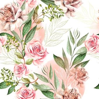 Beau motif aquarelle avec des fleurs roses et des feuilles d'eucalyptus. illustration