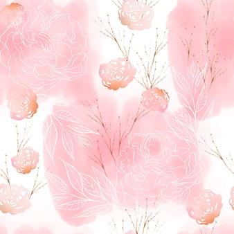 Beau motif aquarelle avec des fleurs roses, des feuilles de pivoine et d'eucalyptus. illustration