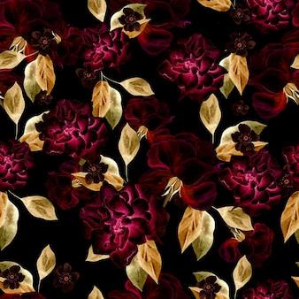 Beau motif aquarelle avec des fleurs de roses et de pivoines. illustration