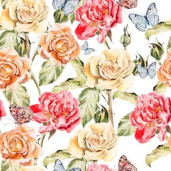 Beau motif aquarelle avec des papillons, des fleurs de pivoine et de roses. illustration