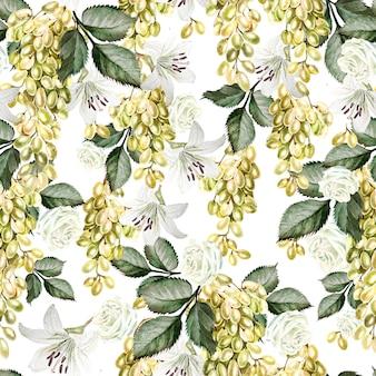 Beau motif aquarelle avec raisins et fleurs de rose, lys. illustration
