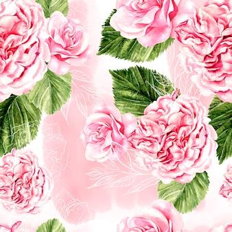 Beau motif aquarelle avec des roses et des fleurs de pivoine. illustration