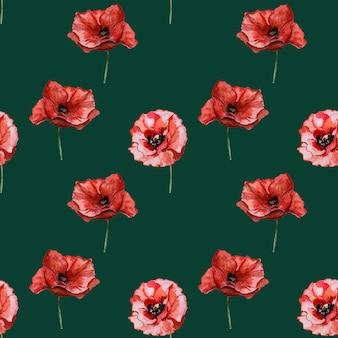 Beau motif de fleurs de pavot.