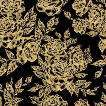 Beau motif graphique avec des fleurs et des feuilles de roses. illustration