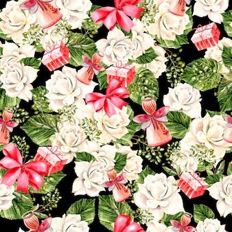 Beau motif de nouvel an aquarelle lumineux avec des fleurs de roses, de feuilles, de cadeaux et de jouets. illustration