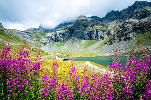 Beau panorama de montagne avec lac bleu