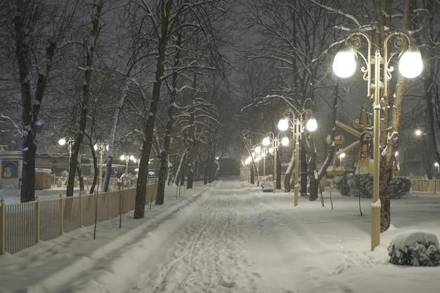 Beau parc de la ville lors de fortes chutes de neige avec beaucoup de neige