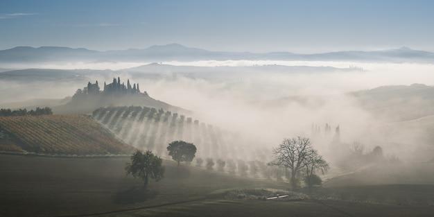 Beau paysage agricole avec des collines et des arbres, photo de la toscane