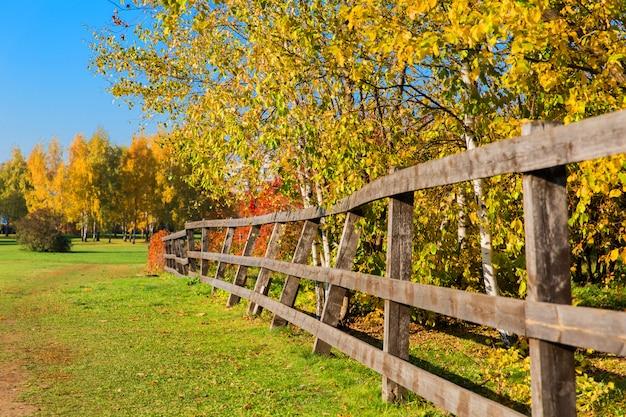 Beau paysage d'automne. clôture en bois et plantes dans un village