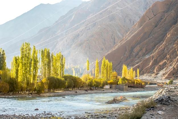 Beau paysage, automne coloré et montagnes de l'himalaya à leh ladakh, partie nord de l'inde
