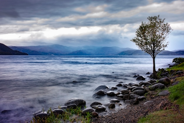 Beau paysage du lac toya hokkaido japon