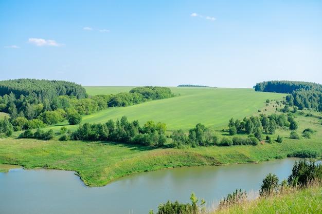 Beau paysage d'été forêts sur la colline et les lacs. paysage de nature campagne verte d'été. le lac sous la forêt.